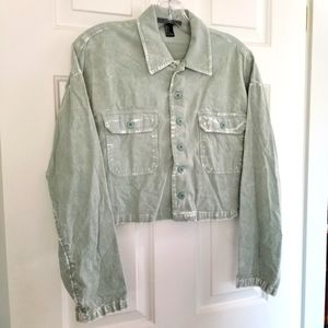 Forever 21 Seafoam Green Cropped Cordurouy Jacket